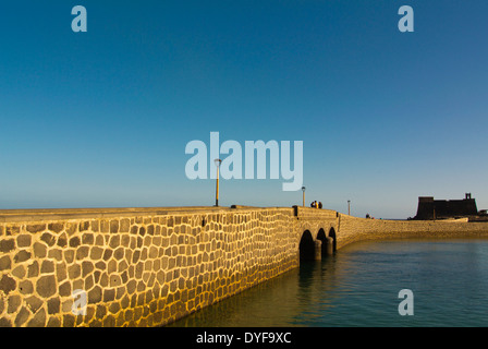 Puente de Las Bolas bridge and castillo de San Gabriel castle, Arrecife, Lanzarote, Canary Islands, Spain, Europe - Stock Photo