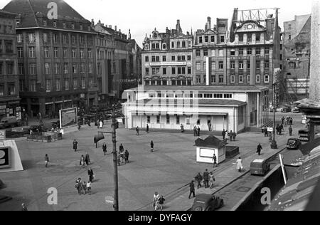 The market square at the fair office on Hainstrasse during the Autumn Expo in the Soviet Zone in Leipzig, Germany, - Stock Photo