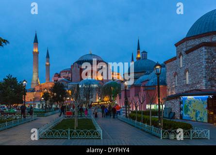 Hagia Sophia (Aya Sofya) from Sultanahmet Park at dusk, Sultanahmet district, Istanbul,Turkey - Stock Photo