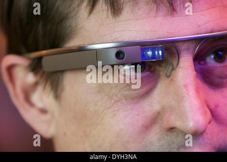 Washington DC, USA . 17th Apr, 2014. An individual wearing Google Glass attends an Economic Club of Washington event - Stock Photo