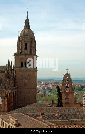 A climb up La Clerecía tower known as the Escalera al Cielo or the Stairway to Heaven offers this view on Salamanca - Stock Photo