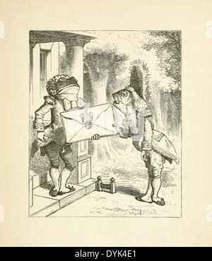 John Tenniel  (1820-1914) illustration from Lewis Carroll's 'Alice in Wonderland' published in 1865. Frog and Fish - Stock Photo