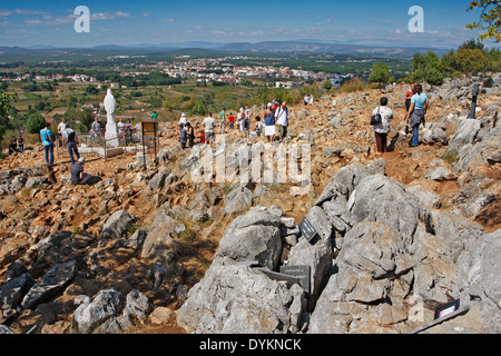 MEDJUGORJE, BOSNIA AND HERZEGOVINA - SEPTEMBER 8: Hill of apparitions of the Virgin Mary on September 8, 2009 in - Stock Photo