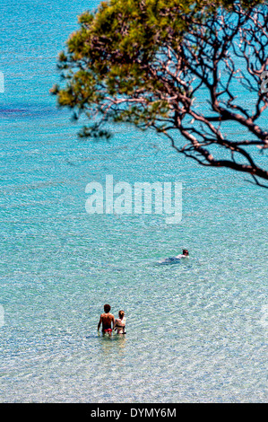 Europe, France, Var, Porquerolles. Young couple in swimming. - Stock Photo