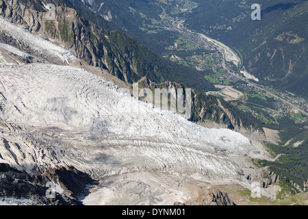 Bossons Glacier from the summit of the Aiguille du Midi in the Mont Blanc massif. - Stock Photo
