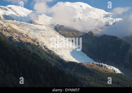 Mont Blanc and Bossons Glacier from Chamonix, France. - Stock Photo