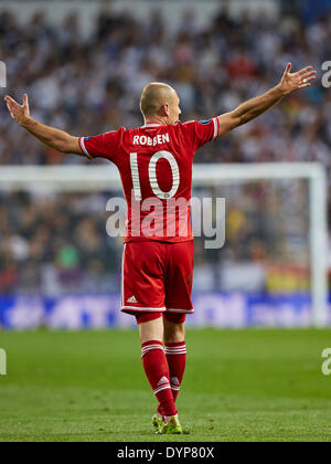 Madrid, Spain. 23rd Apr, 2014. Arjen ROBBEN reacts during the UEFA Champions League Game between Real Madrid and - Stock Photo