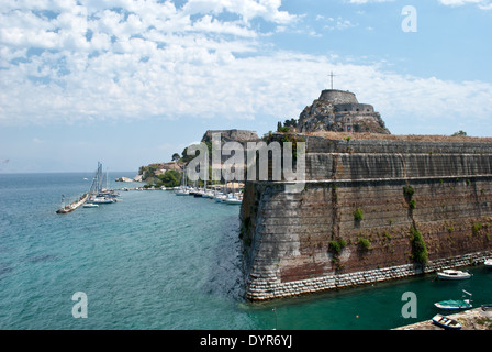 View of the old Venetian fortress in Corfu - Stock Photo
