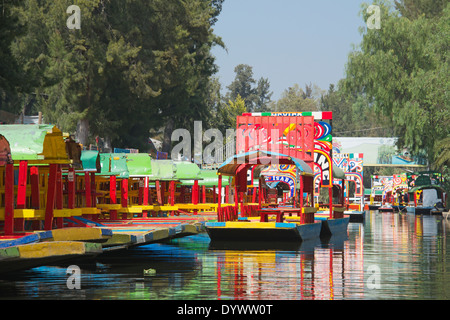 Colourful empty boats Xochimilco Mexico City Mexico - Stock Photo