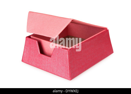 Pink opened gift box on a white background - Stock Photo
