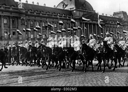German cuirassiers in Brussels, 1915 - Stock Photo