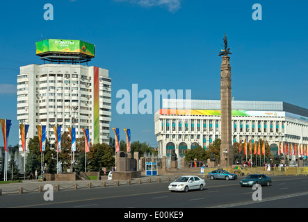 Republic Square with the Independence Monument, Almaty, Kazakhstan - Stock Photo