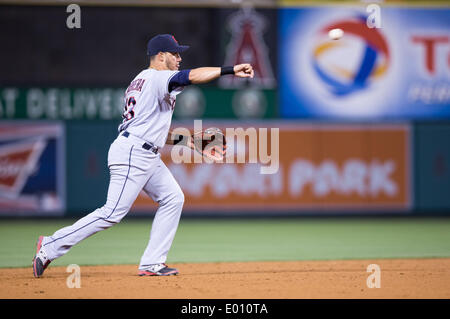 Anaheim, CA, USA. 28th Apr, 2014. April 28, 2014 - Anaheim, CA, United States of America - Cleveland Indians shortstop - Stock Photo