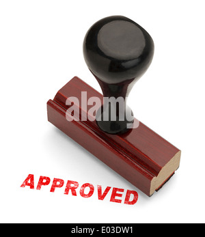 Red Approved Stamp with Wooden handle Rubber Stamper Isolated on White Background. - Stock Photo