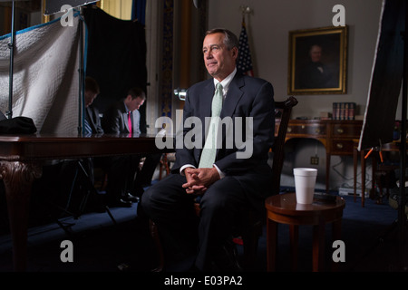 US Speaker of the House John Boehner tapes an interview for PBS's FRONTLINE in the Board of Education room at the - Stock Photo