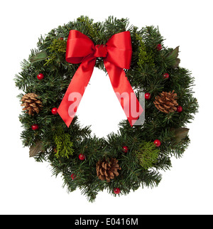 Holiday Wreath with Pine Cones and Red Ribbon Isolated on White Background. - Stock Photo