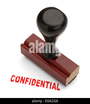 Wooden Handle Stamper with Confidential stamp in Red Ink Isolated on White Background. - Stock Photo