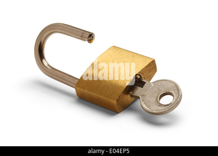 Brass Padlock Unlocked with Key Isolated on White Background. - Stock Photo