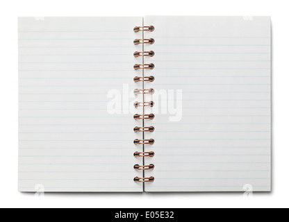 Small Spiral Bound Notebook Open with white blue Lined Paper Isolated on White Background. - Stock Photo