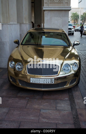 Gold Bentley Continental Flying Spur Motor Car - Stock Photo