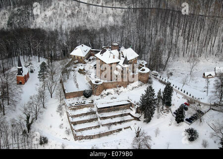 Aerial view of the castle Berlepsch (Hesse, Germany), picture taken at 26.01.2013 from a light aircraft. - Stock Photo