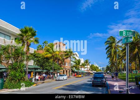 Ocean Drive at 8th Street, South Beach, Miami Beach, Florida, USA - Stock Photo