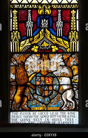 Royal crest stained glass, St. Bartholomew`s Church, Much Marcle, Herefordshire, England, UK - Stock Photo