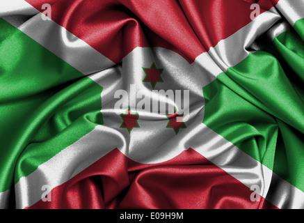Satin flag  three dimensional render  flag of Burundi - Stock Photo