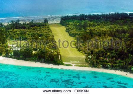Seychelles, Northern Coral Group, Denis Island, landing strip - Stock Photo