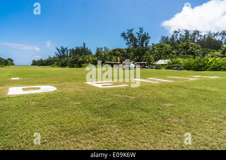 Seychelles, Northern Coral Group, Denis Island, Airstrip, DHC-6 Twin Otter 300 - Stock Photo