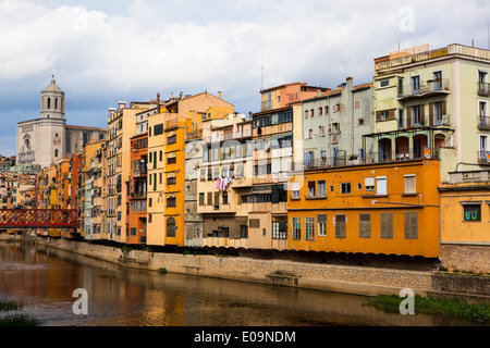 Colourful buildings along the river Onyar, in Girona, Catalonia, Spain - Stock Photo