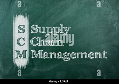 SCM Supply Chain Management acronym written on chalkboard blackboard.  - Stock Photo