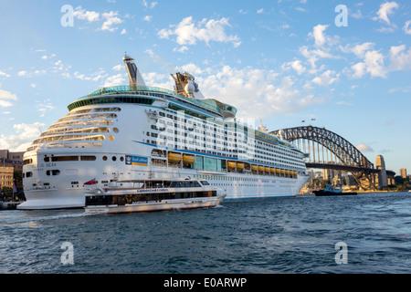 Sydney Australia NSW New South Wales Sydney Harbour Bridge harbor Voyager of the Seas cruise ship Circular Quay - Stock Photo