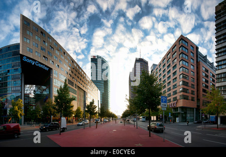 Potsdamer Strasse, Sony Centre, DB Control Tower and Kollhoff Tower, Potsdam Place, Berlin, Germany, Europe - Stock Photo