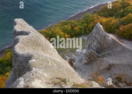 View from Victoria's View onto chalk cliffs in autumn, Jasmund National Park, Baltic coast, Ruegen island, Mecklenburg - Stock Photo