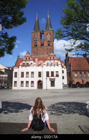 Stendal, market infront of St. Marys Church, Altmark, Sachsen-Anhalt, Germany, Europe - Stock Photo
