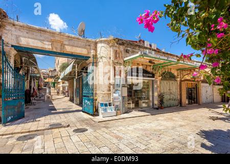 Old bazaar in Jerusalem, Israel. - Stock Photo