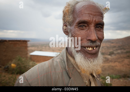 Portrait of a man in Koremi village, near Harar, in the Ethiopian Highlands of Africa. - Stock Photo