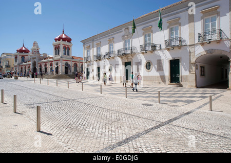 Market and town hall at Loule, Praca da Republica, Algarve, Portugal, Europe - Stock Photo