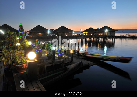 Paradise Inle Resort on the Inle Lake, Myanmar, Burma, Asia - Stock Photo