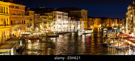 The Grand Canal, view from Rialto bridge in a southwesterly direction at night, Venice, Venetia, Italy, Europe - Stock Photo