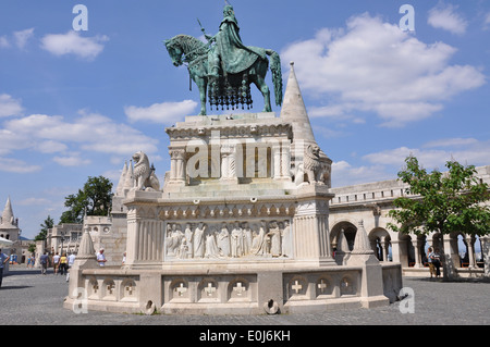 A  statue of Stephen I of Hungary mounted on a horse, located at Fisherman's Bastion, Castle Hill, Budapest. - Stock Photo