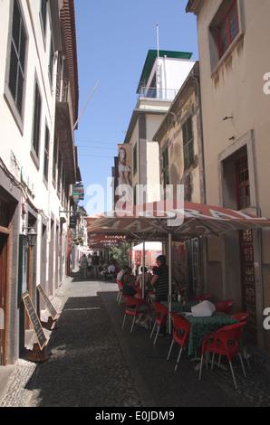 Rua de Santa Maria in Old Town Funchal Madeira - Stock Photo