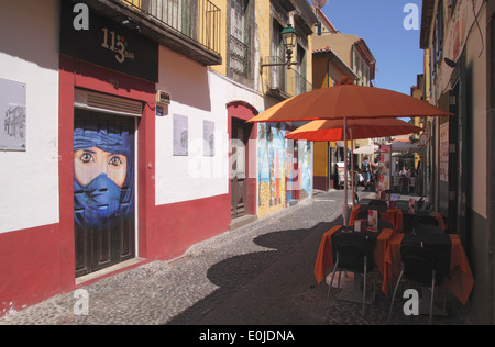 Travessa Joao Caetano in Old Town of Funchal Madeira - Stock Photo