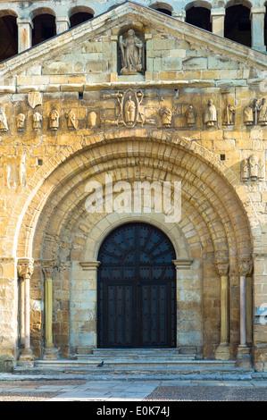 Doorway of Colegiata Santillana, St Juliana's Collegiate Church, in Santillana del Mar, Cantabria, Northern Spain - Stock Photo