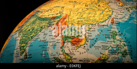 South East Asia viewed on a globe against a black background. - Stock Photo