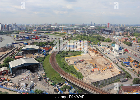 View from Emirates Air Line Cable Car, London, England, UK. - Stock Photo