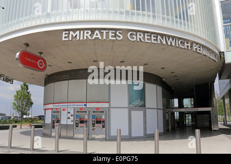 Emirates Air Line Cable Car ticket office at the Greenwich Peninsular, London, England, UK. - Stock Photo