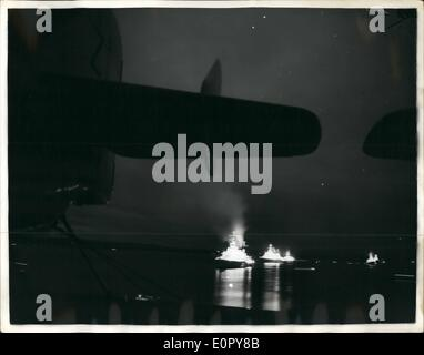 May 05, 1957 - Queen's visit to the Fleet. Ganet Airport Frames Illuminated Vessels: A Number of Demonstrations - Stock Photo