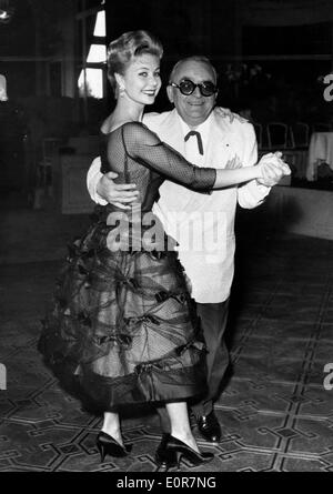 Marcel Achard and Mitzi Gaynor dancing at the Cannes Film Festival - Stock Photo